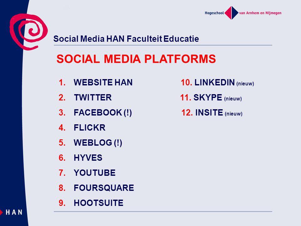 Social Media HAN Faculteit Educatie www.han.nl/leraarworden WEBSITE HAN EDUCATIE