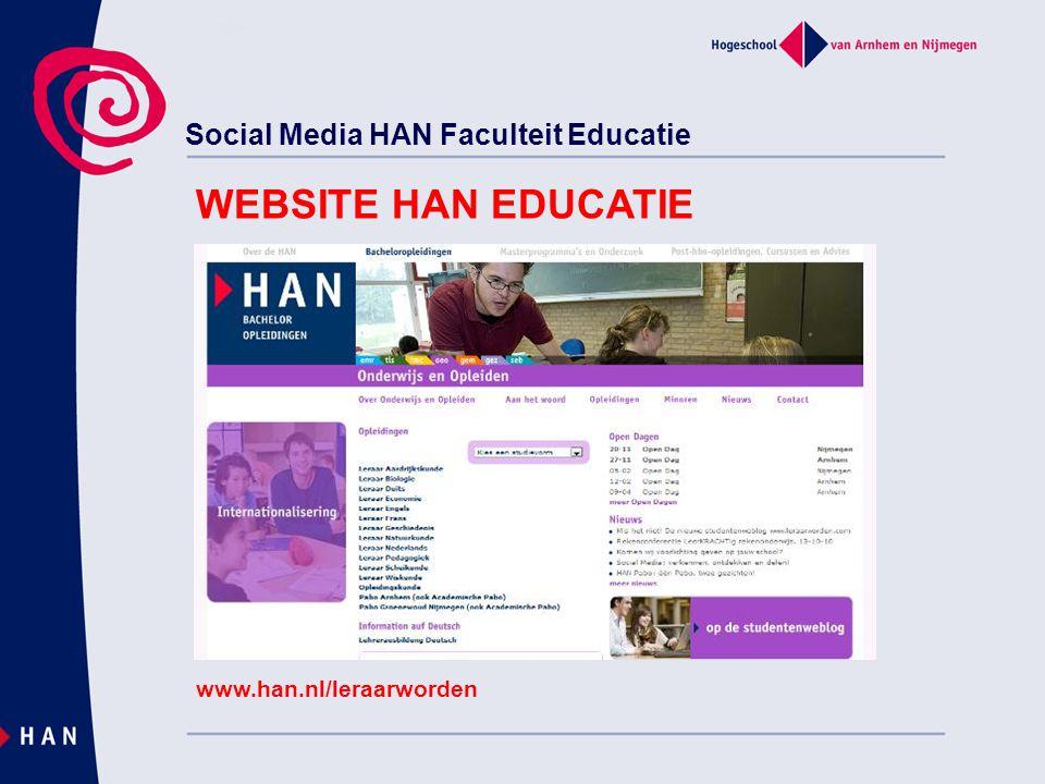 Social Media HAN Faculteit Educatie www.twitter.com/leraarworden TWITTER