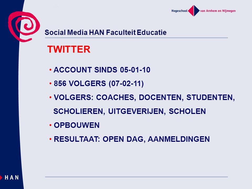 Social Media HAN Faculteit Educatie TWITTER ACCOUNT SINDS 05-01-10 856 VOLGERS (07-02-11) VOLGERS: COACHES, DOCENTEN, STUDENTEN, SCHOLIEREN, UITGEVERIJEN, SCHOLEN OPBOUWEN RESULTAAT: OPEN DAG, AANMELDINGEN