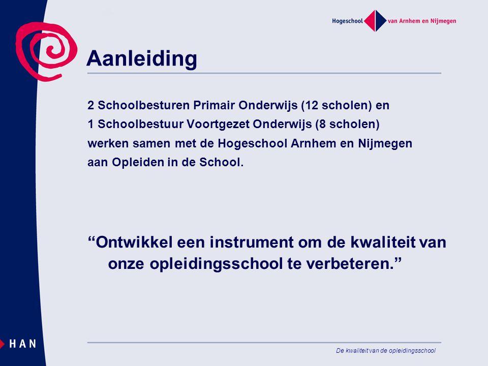 De kwaliteit van de opleidingsschool Aanleiding 2 Schoolbesturen Primair Onderwijs (12 scholen) en 1 Schoolbestuur Voortgezet Onderwijs (8 scholen) werken samen met de Hogeschool Arnhem en Nijmegen aan Opleiden in de School.