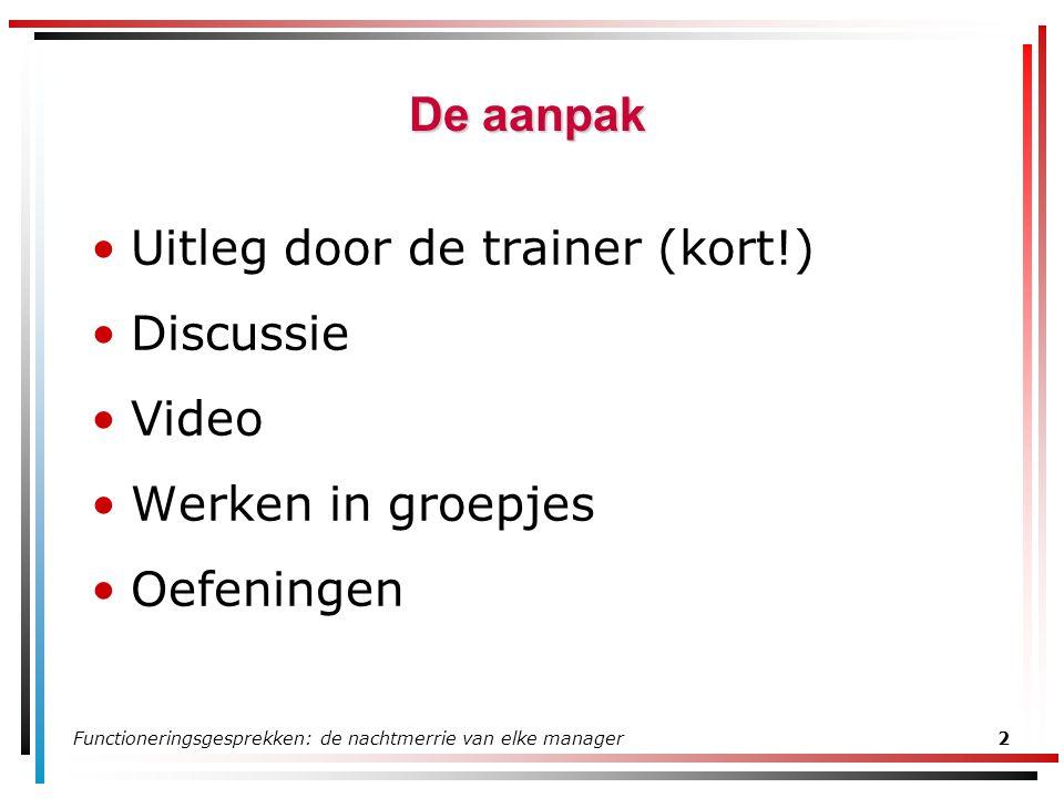 Functioneringsgesprekken: de nachtmerrie van elke manager2 De aanpak Uitleg door de trainer (kort!) Discussie Video Werken in groepjes Oefeningen