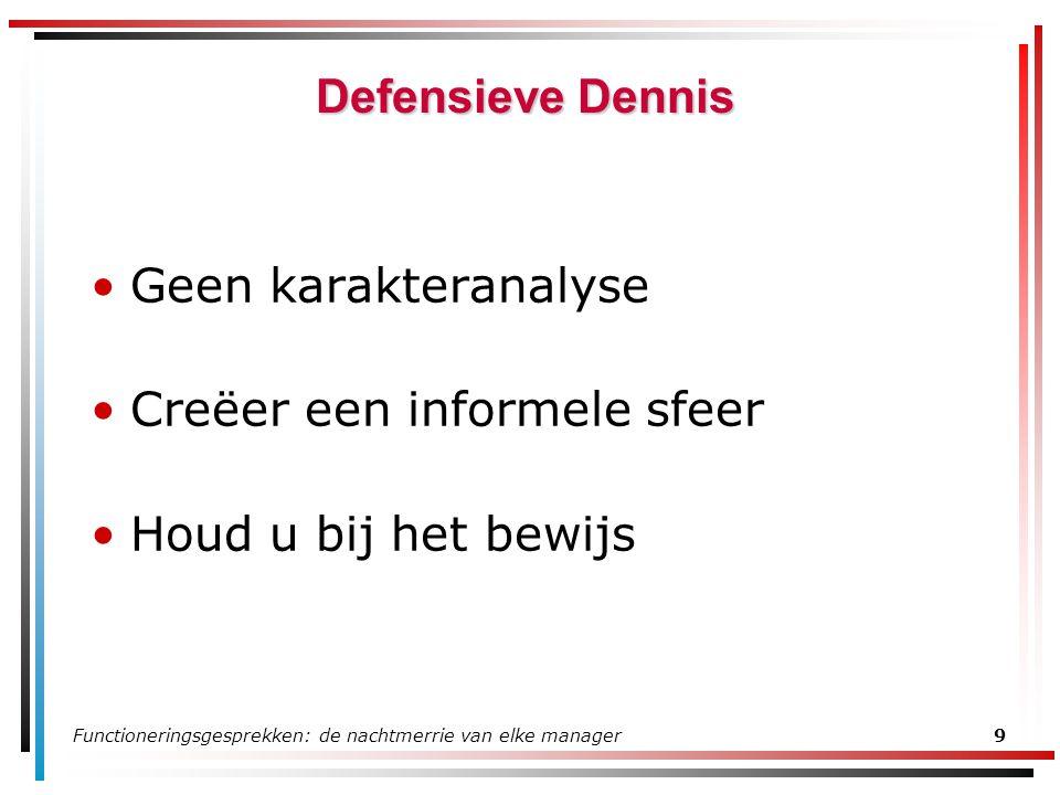 Functioneringsgesprekken: de nachtmerrie van elke manager9 Defensieve Dennis Geen karakteranalyse Creëer een informele sfeer Houd u bij het bewijs