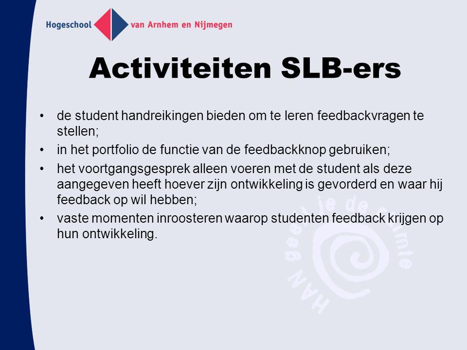 Activiteiten SLB-ers de student handreikingen bieden om te leren feedbackvragen te stellen; in het portfolio de functie van de feedbackknop gebruiken;