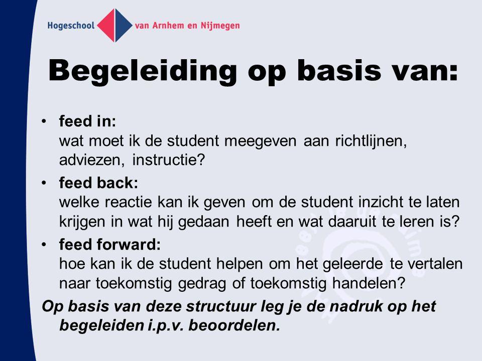 Begeleiding op basis van: feed in: wat moet ik de student meegeven aan richtlijnen, adviezen, instructie? feed back: welke reactie kan ik geven om de