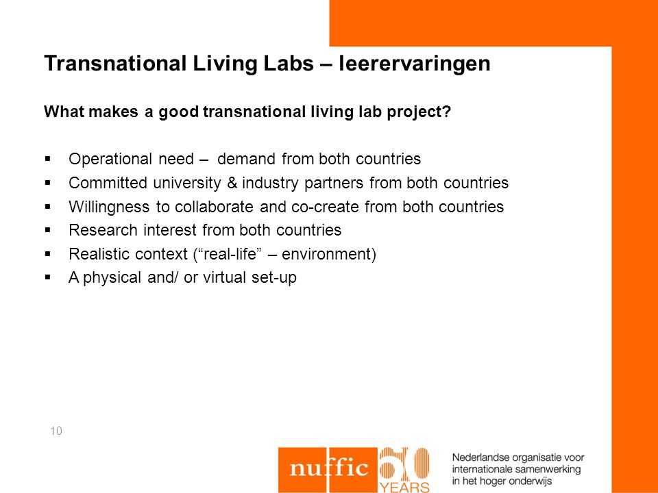 Transnational Living Labs – leerervaringen What makes a good transnational living lab project.