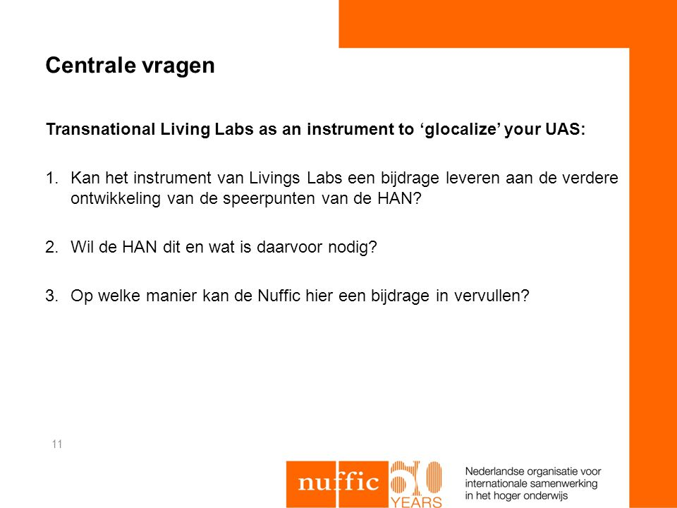 Centrale vragen Transnational Living Labs as an instrument to 'glocalize' your UAS: 1.Kan het instrument van Livings Labs een bijdrage leveren aan de verdere ontwikkeling van de speerpunten van de HAN.