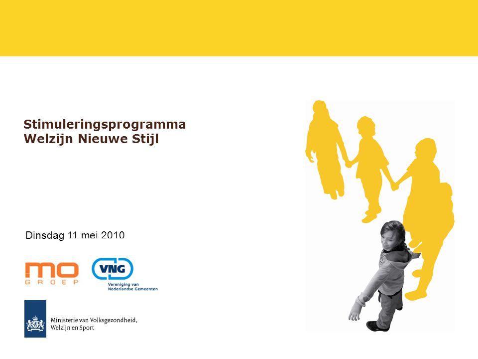 2 Doelstelling vanmiddag -Samen met u de contouren van het Stimuleringsprogramma Welzijn Nieuwe Stijl bespreken.