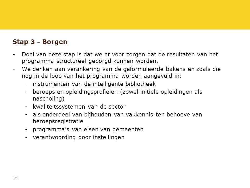 12 Stap 3 - Borgen -Doel van deze stap is dat we er voor zorgen dat de resultaten van het programma structureel geborgd kunnen worden.