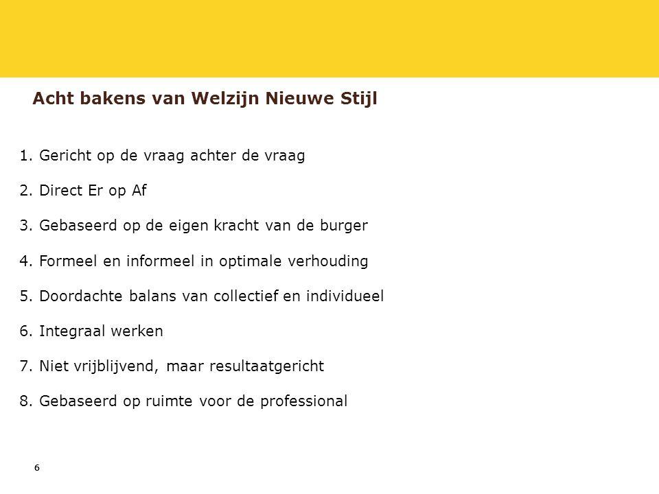 7 Stimuleringsprogramma Op weg naar Welzijn Nieuwe Stijl -Programma is van en voor het veld (MO-groep, VNG & VWS).