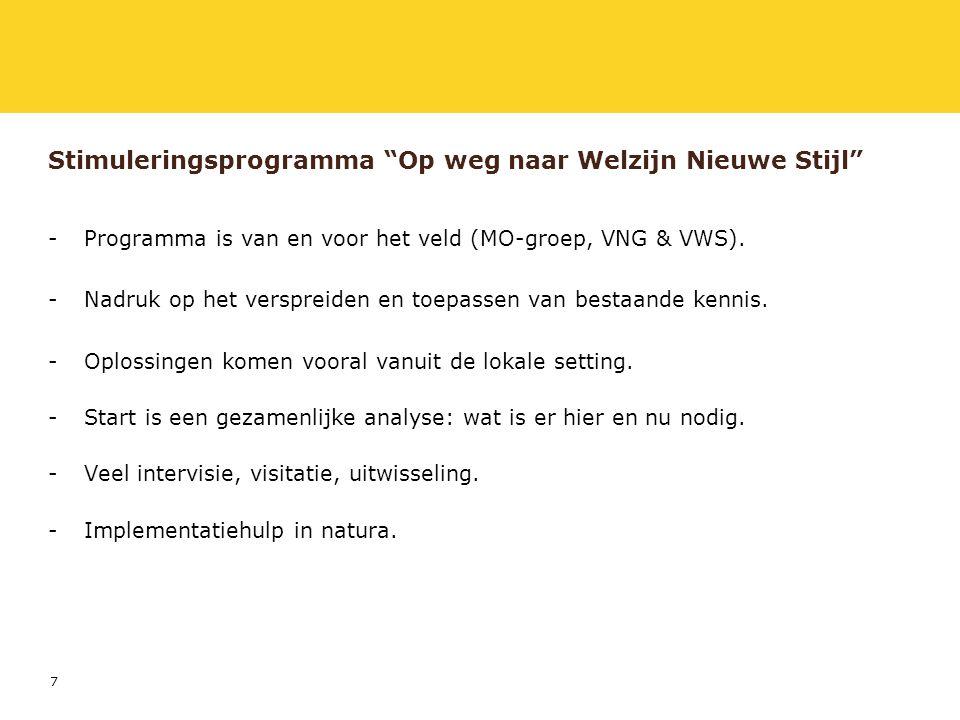 8 Stimuleringsprogramma Op weg naar Welzijn Nieuwe Stijl -Wij stellen een stimuleringsprogramma voor dat bestaat uit drie stappen, namelijk: inspireren op landelijk en lokaal niveau; analyse en ondersteuning op lokaal niveau; borging van landelijke resultaten.