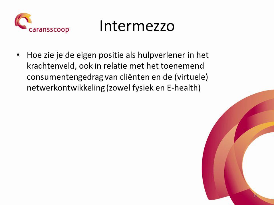 Intermezzo Hoe zie je de eigen positie als hulpverlener in het krachtenveld, ook in relatie met het toenemend consumentengedrag van cliënten en de (virtuele) netwerkontwikkeling (zowel fysiek en E-health) 18