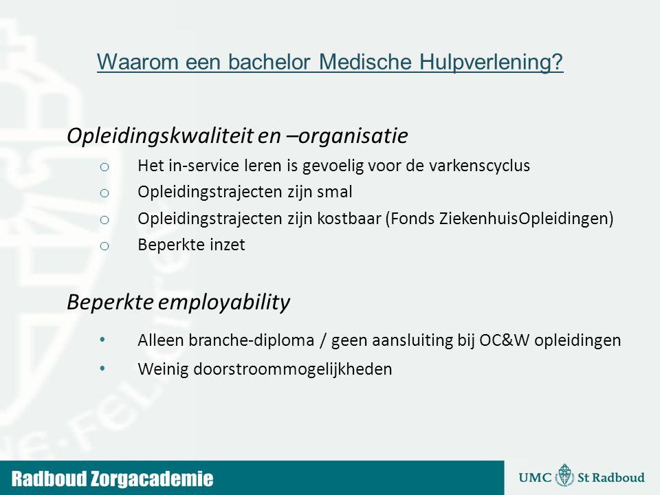 Waarom een bachelor Medische Hulpverlening? Opleidingskwaliteit en –organisatie o Het in-service leren is gevoelig voor de varkenscyclus o Opleidingst