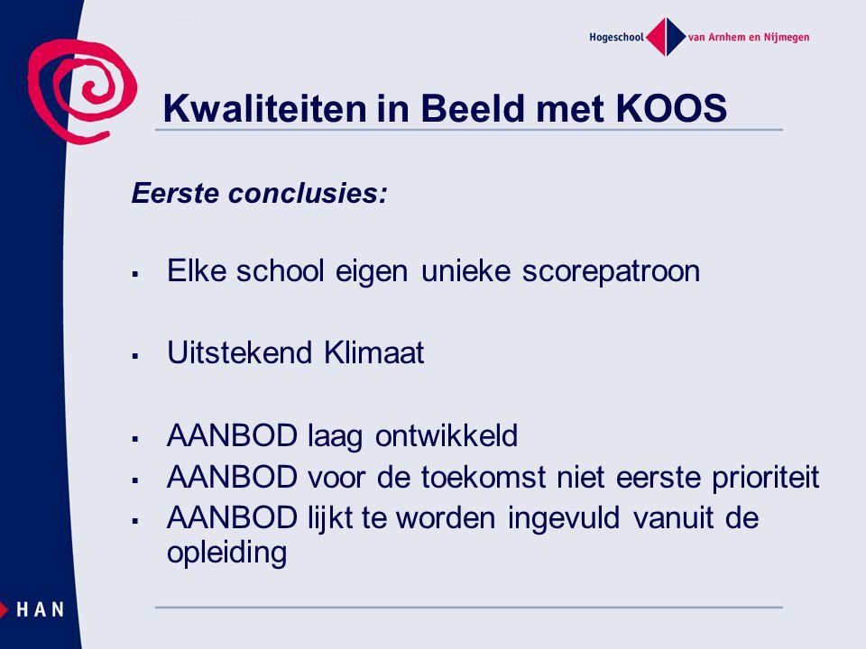 Kwaliteiten in Beeld met KOOS Eerste conclusies:  Elke school eigen unieke scorepatroon  Uitstekend Klimaat  AANBOD laag ontwikkeld  AANBOD voor d