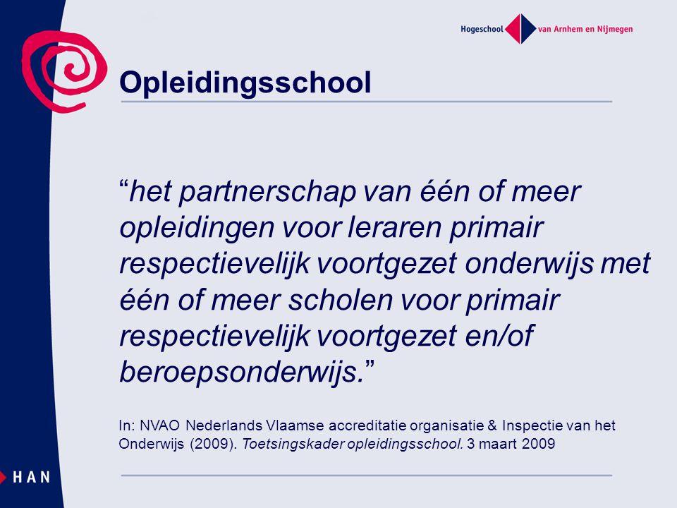 """Opleidingsschool """"het partnerschap van één of meer opleidingen voor leraren primair respectievelijk voortgezet onderwijs met één of meer scholen voor"""