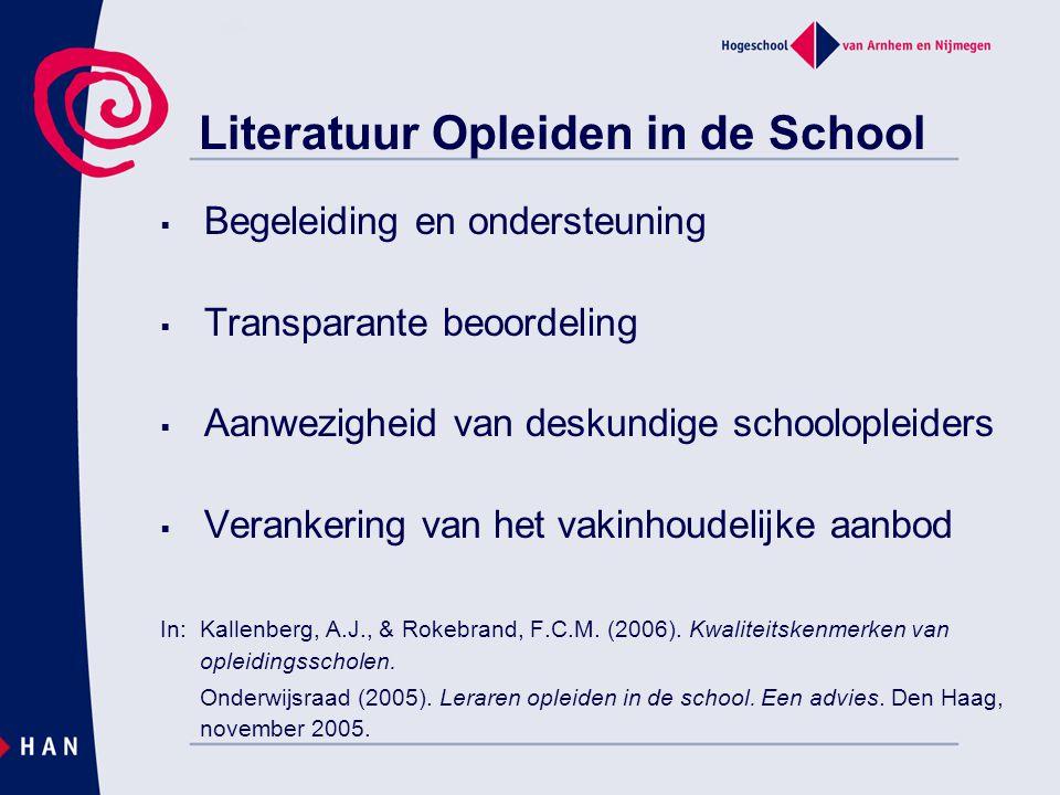 Literatuur Opleiden in de School  Begeleiding en ondersteuning  Transparante beoordeling  Aanwezigheid van deskundige schoolopleiders  Verankering