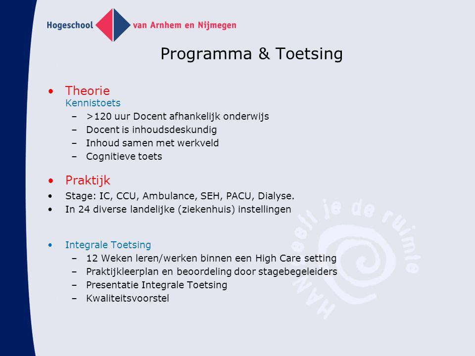 Programma & Toetsing Theorie Kennistoets –>120 uur Docent afhankelijk onderwijs –Docent is inhoudsdeskundig –Inhoud samen met werkveld –Cognitieve toe
