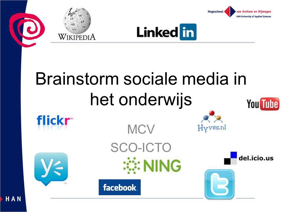 Brainstorm sociale media in het onderwijs MCV SCO-ICTO