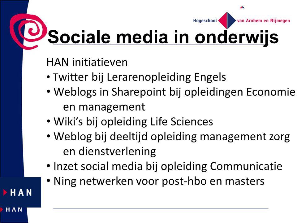 Sociale media in onderwijs HAN initiatieven T witter bij Lerarenopleiding Engels Weblogs in Sharepoint bij opleidingen Economie en management Wiki's b