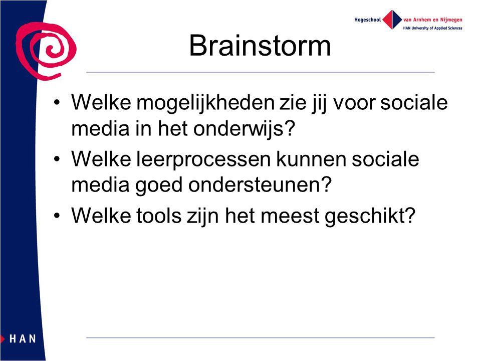 Brainstorm Welke mogelijkheden zie jij voor sociale media in het onderwijs? Welke leerprocessen kunnen sociale media goed ondersteunen? Welke tools zi