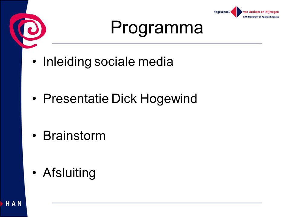 Programma Inleiding sociale media Presentatie Dick Hogewind Brainstorm Afsluiting