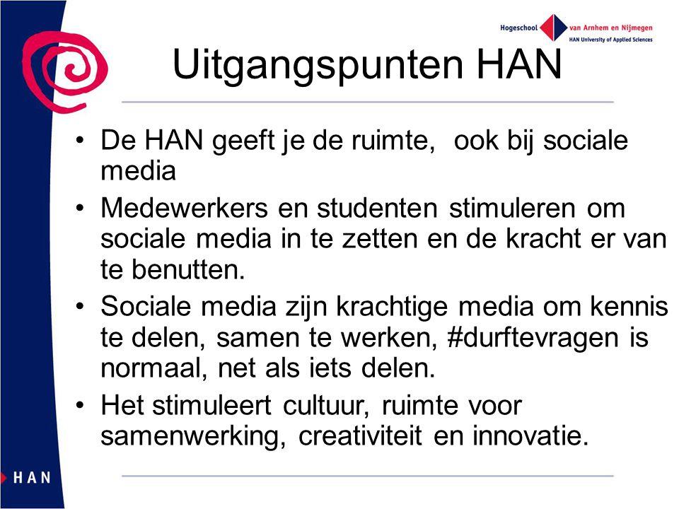 Uitgangspunten HAN De HAN geeft je de ruimte, ook bij sociale media Medewerkers en studenten stimuleren om sociale media in te zetten en de kracht er