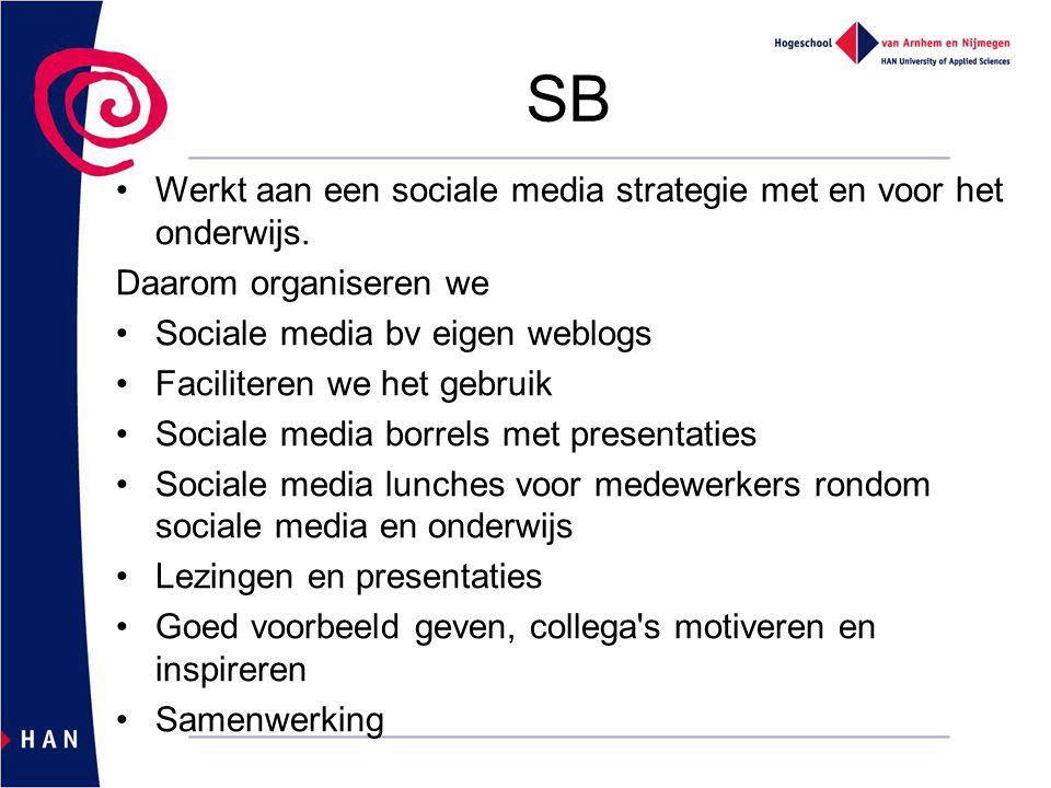SB Werkt aan een sociale media strategie met en voor het onderwijs. Daarom organiseren we Sociale media bv eigen weblogs Faciliteren we het gebruik So