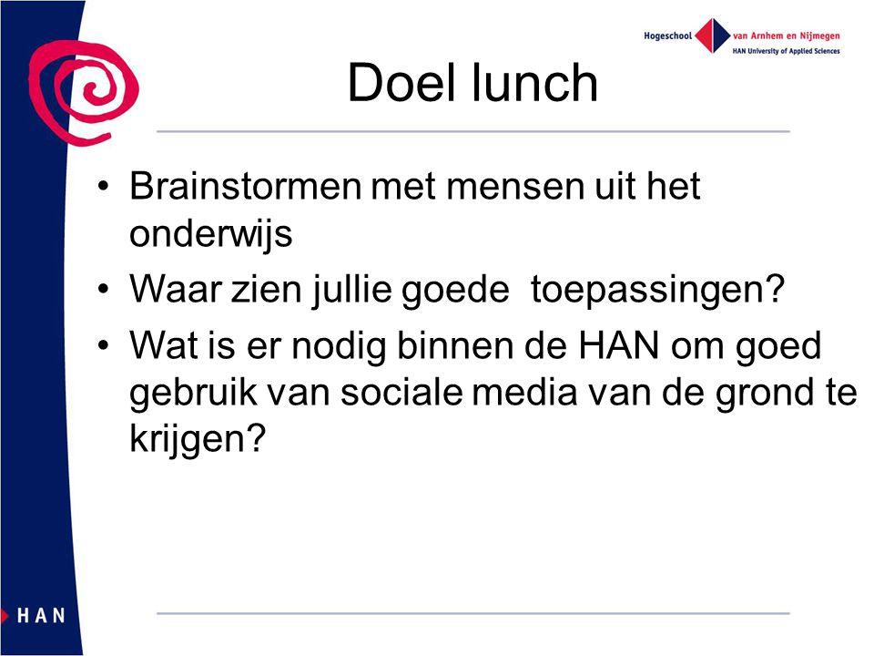 Doel lunch Brainstormen met mensen uit het onderwijs Waar zien jullie goede toepassingen? Wat is er nodig binnen de HAN om goed gebruik van sociale me
