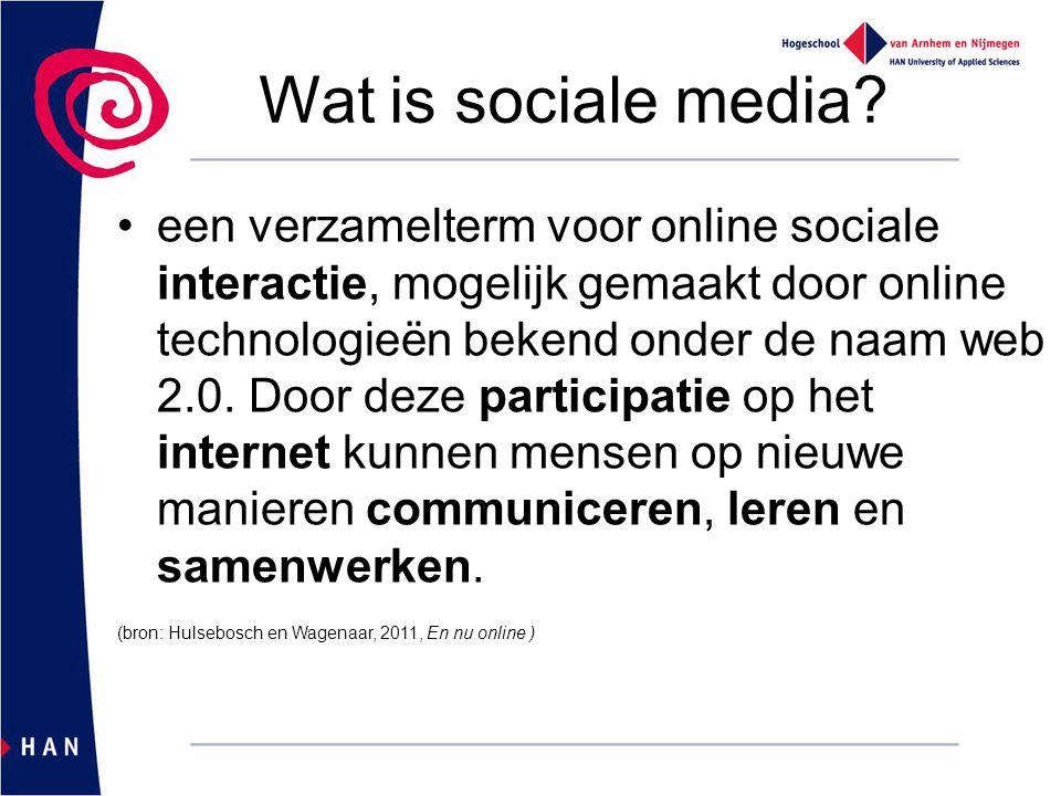 Wat is sociale media? een verzamelterm voor online sociale interactie, mogelijk gemaakt door online technologieën bekend onder de naam web 2.0. Door d