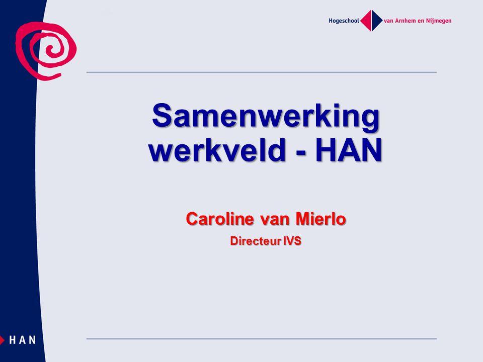 Samenwerking werkveld - HAN Caroline van Mierlo Directeur IVS