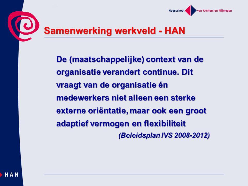 Samenwerking werkveld - HAN Gezamenlijk belang: – Voldoende professionals opleiden – Goed gekwalificeerd, niveau 5 – Conform eisen NVAO en wettelijke eindtermen