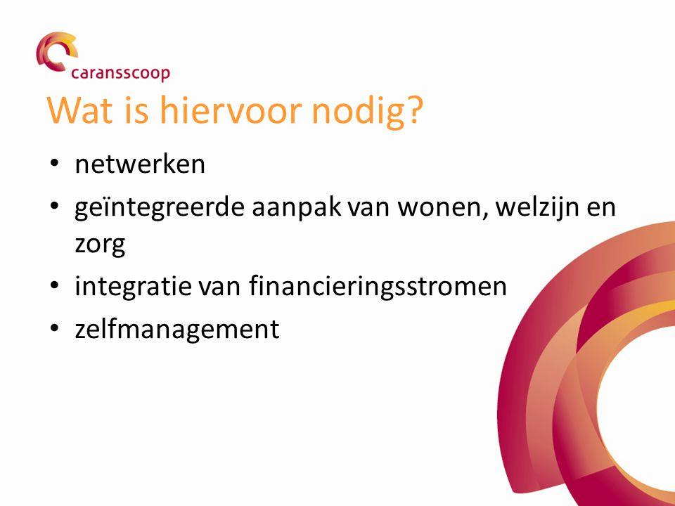 Wat is hiervoor nodig? netwerken geïntegreerde aanpak van wonen, welzijn en zorg integratie van financieringsstromen zelfmanagement