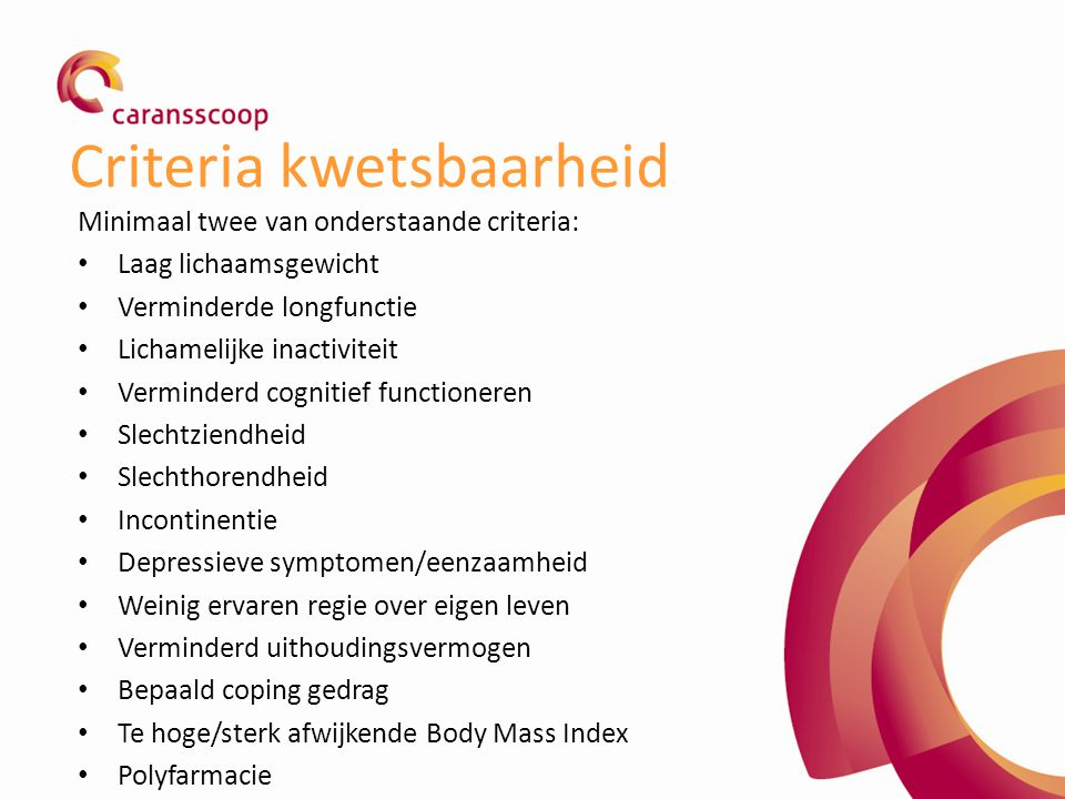 Criteria kwetsbaarheid Minimaal twee van onderstaande criteria: Laag lichaamsgewicht Verminderde longfunctie Lichamelijke inactiviteit Verminderd cogn