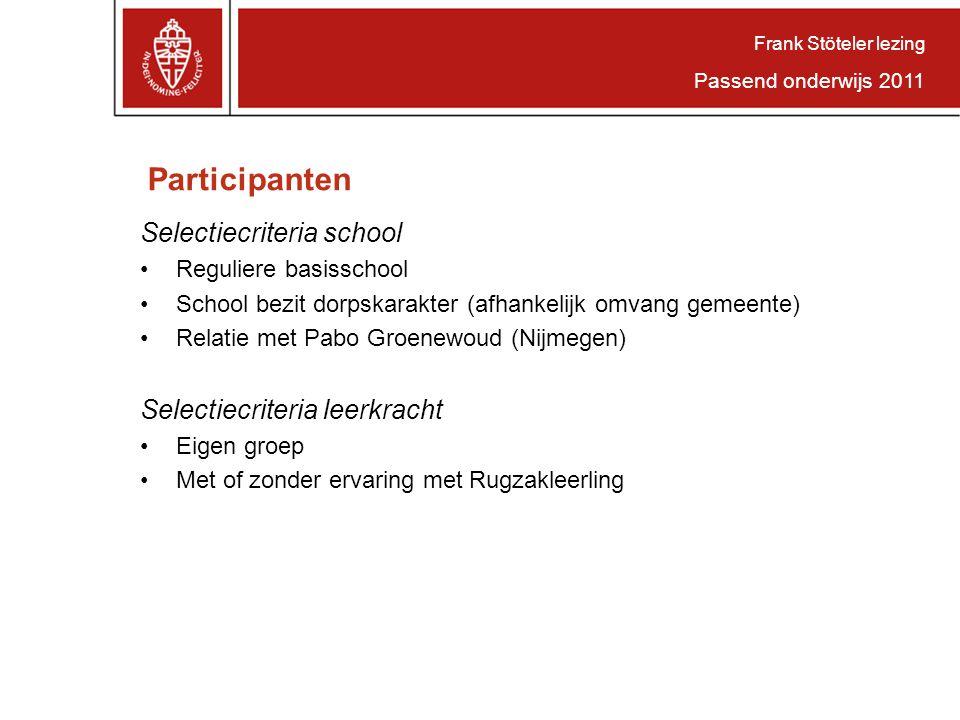 Participanten Selectiecriteria school Reguliere basisschool School bezit dorpskarakter (afhankelijk omvang gemeente) Relatie met Pabo Groenewoud (Nijm