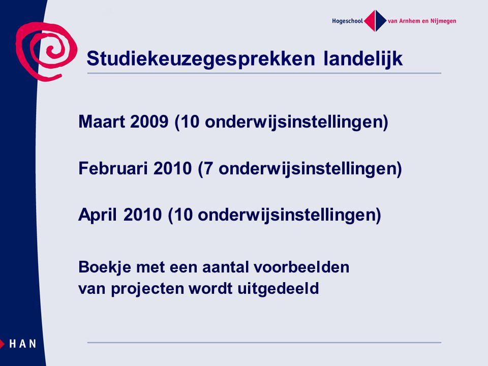 Maart 2009 (10 onderwijsinstellingen) Februari 2010 (7 onderwijsinstellingen) April 2010 (10 onderwijsinstellingen) Boekje met een aantal voorbeelden van projecten wordt uitgedeeld Studiekeuzegesprekken landelijk