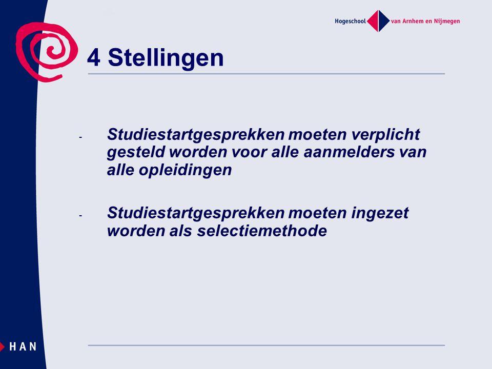 - Studiestartgesprekken moeten verplicht gesteld worden voor alle aanmelders van alle opleidingen - Studiestartgesprekken moeten ingezet worden als selectiemethode 4 Stellingen