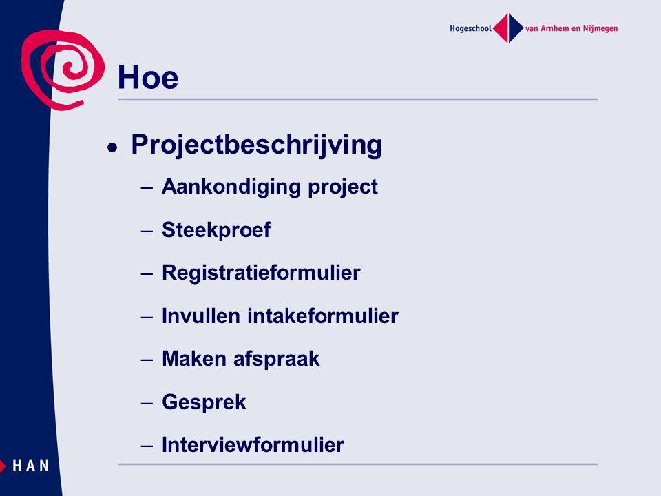 Projectbeschrijving –Aankondiging project –Steekproef –Registratieformulier –Invullen intakeformulier –Maken afspraak –Gesprek –Interviewformulier Hoe