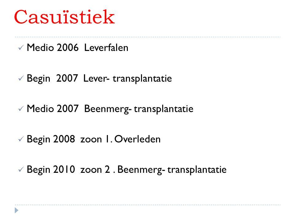 Casuïstiek Medio 2006 Leverfalen Begin 2007 Lever- transplantatie Medio 2007 Beenmerg- transplantatie Begin 2008 zoon 1. Overleden Begin 2010 zoon 2.