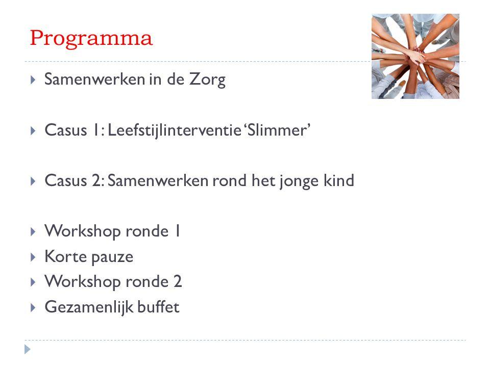 Programma  Samenwerken in de Zorg  Casus 1: Leefstijlinterventie 'Slimmer'  Casus 2: Samenwerken rond het jonge kind  Workshop ronde 1  Korte pau