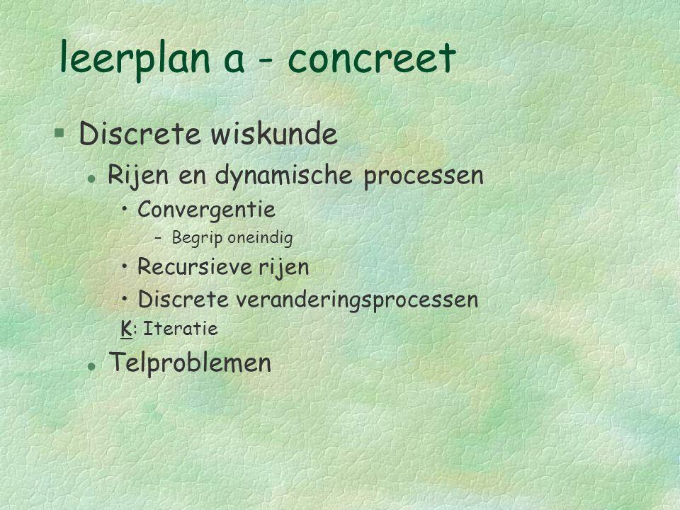 leerplan a - concreet §Discrete wiskunde l Rijen en dynamische processen Convergentie –Begrip oneindig Recursieve rijen Discrete veranderingsprocessen