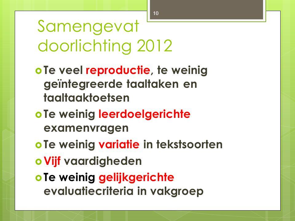 Samengevat doorlichting 2012  Te veel reproductie, te weinig geïntegreerde taaltaken en taaltaaktoetsen  Te weinig leerdoelgerichte examenvragen  T