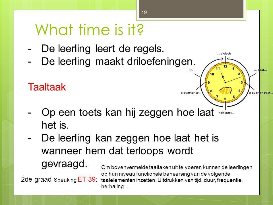 What time is it? 19 -De leerling leert de regels. -De leerling maakt driloefeningen. Taaltaak -Op een toets kan hij zeggen hoe laat het is. -De leerli