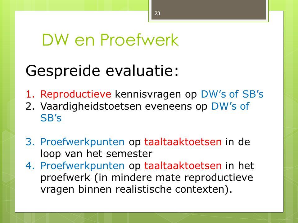 DW en Proefwerk 23 Gespreide evaluatie: 1.Reproductieve kennisvragen op DW's of SB's 2.Vaardigheidstoetsen eveneens op DW's of SB's 3.Proefwerkpunten