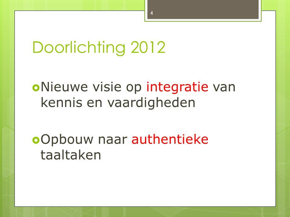 Doorlichting 2012  Nieuwe visie op integratie van kennis en vaardigheden  Opbouw naar authentieke taaltaken 4