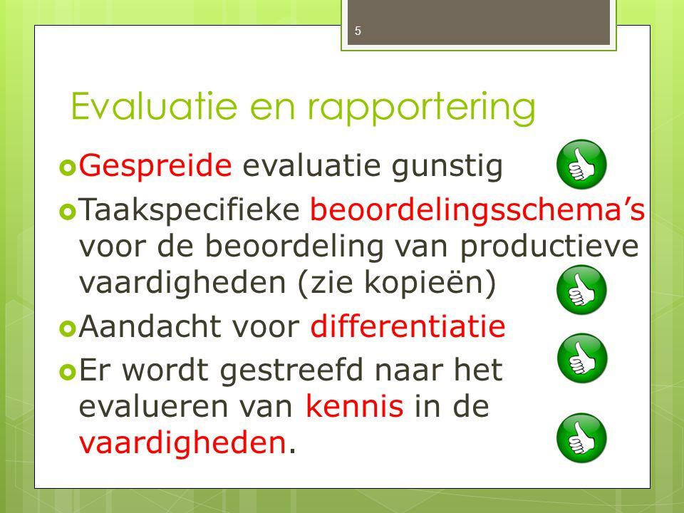 Evaluatie en rapportering  Gespreide evaluatie gunstig  Taakspecifieke beoordelingsschema's voor de beoordeling van productieve vaardigheden (zie ko