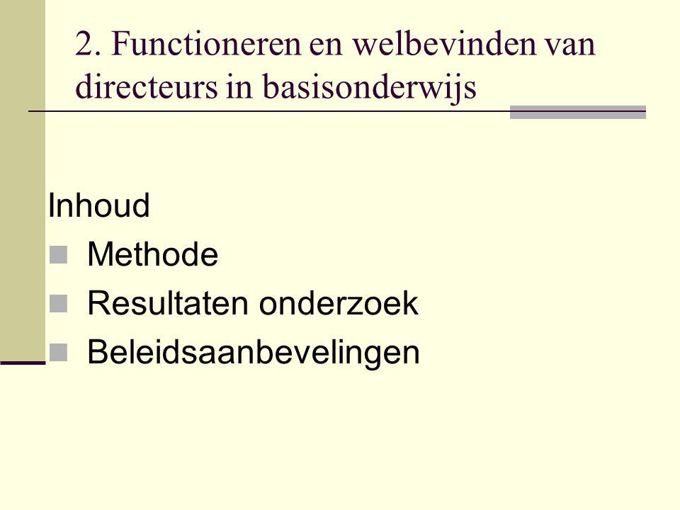 2. Functioneren en welbevinden van directeurs in basisonderwijs Inhoud Methode Resultaten onderzoek Beleidsaanbevelingen