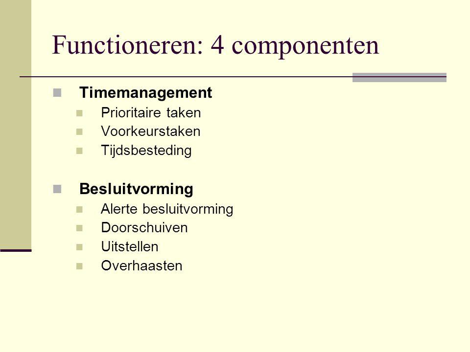 Functioneren: 4 componenten Timemanagement Prioritaire taken Voorkeurstaken Tijdsbesteding Besluitvorming Alerte besluitvorming Doorschuiven Uitstelle