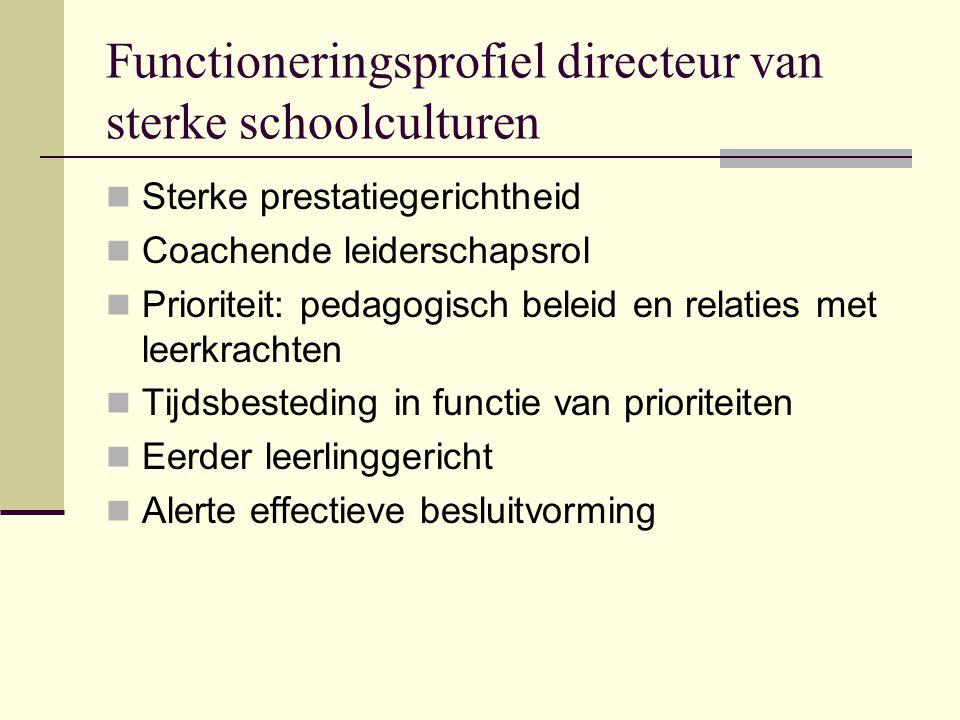 Functioneringsprofiel directeur van sterke schoolculturen Sterke prestatiegerichtheid Coachende leiderschapsrol Prioriteit: pedagogisch beleid en rela