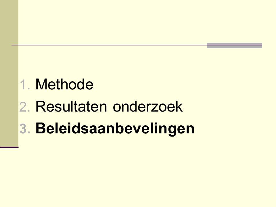 1. Methode 2. Resultaten onderzoek 3. Beleidsaanbevelingen