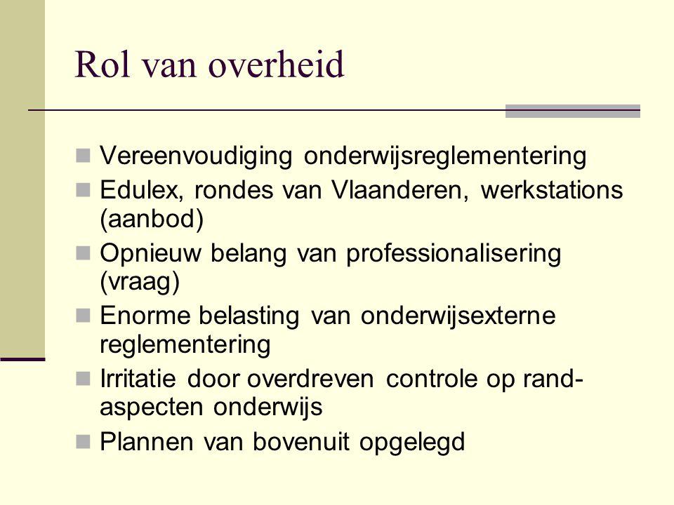 Rol van overheid Vereenvoudiging onderwijsreglementering Edulex, rondes van Vlaanderen, werkstations (aanbod) Opnieuw belang van professionalisering (