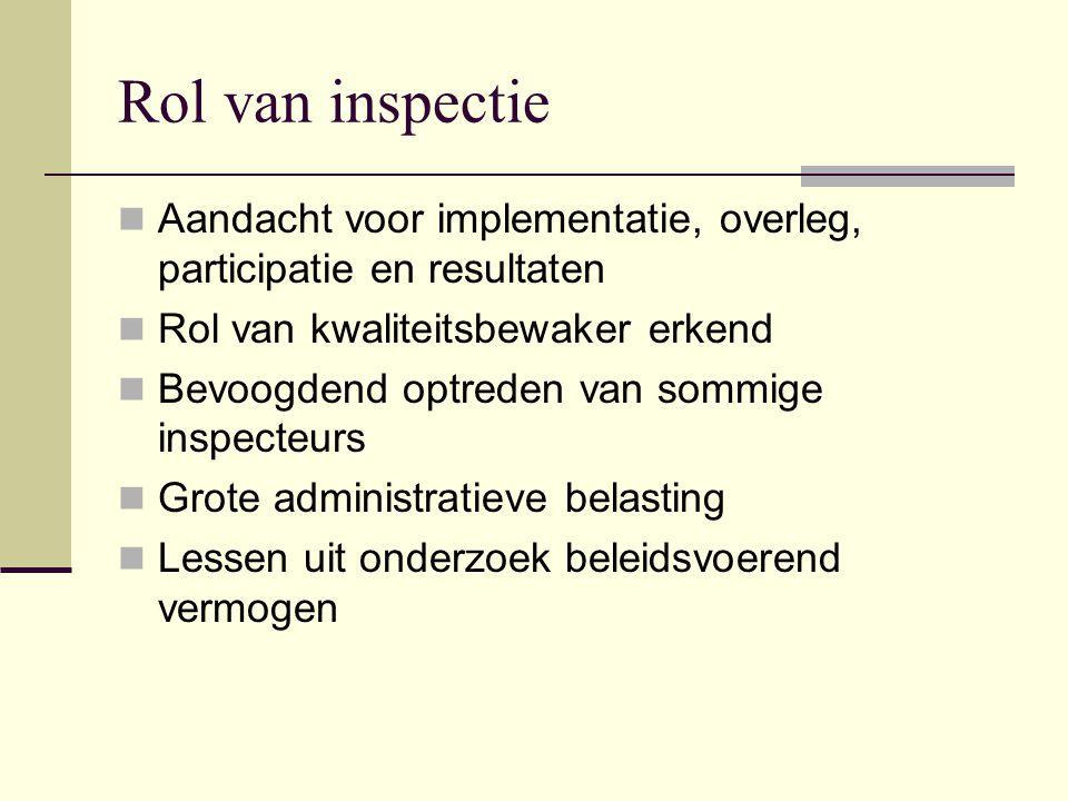 Rol van inspectie Aandacht voor implementatie, overleg, participatie en resultaten Rol van kwaliteitsbewaker erkend Bevoogdend optreden van sommige in